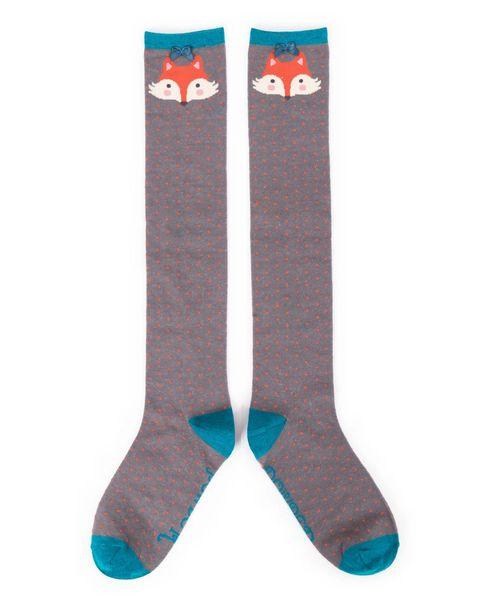 Fox Knee High Socks Charcoal