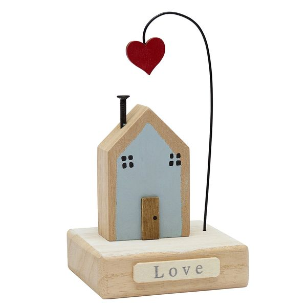 """Wooden Home on Base Decoration with heart """"love"""""""