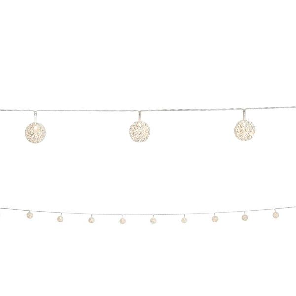 Silver wire ball LED string lights (10 LEDs)