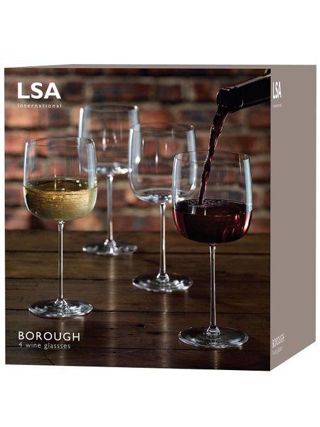 LSA International Borough Wine Glasses, Set of 4, 450ml, Clear