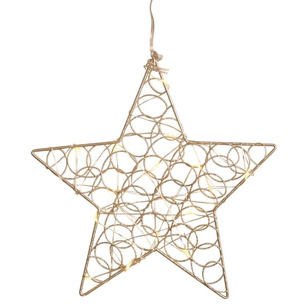 LED Silver glittery hanging star