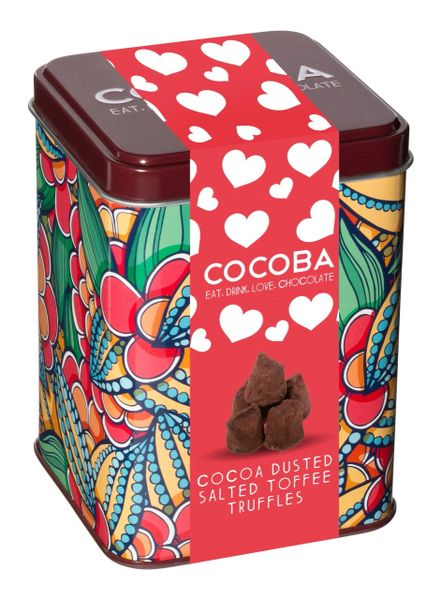 Heart Gift Tin containing Cocoa Dusted Salted