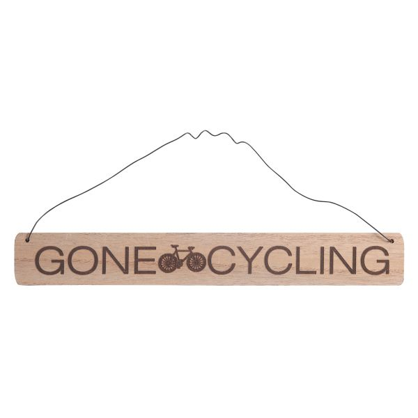 'Gone cycling' etched sign