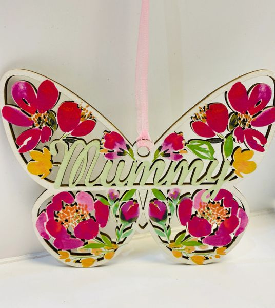 Beautiful Laser cut Floral Butterfly choose - Mummy or Mum