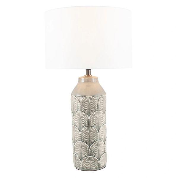 Embossed Grey Ceramic Table Lamp