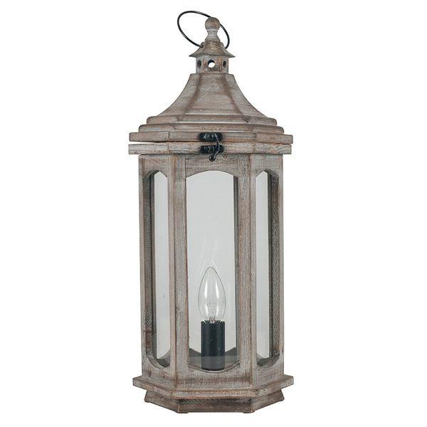 Grey Antique Wood Lantern Table Lamp