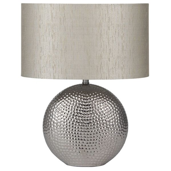Silver Dot Textured Ceramic Table Lamp