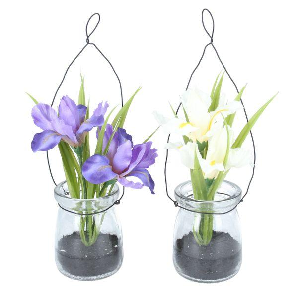 Fabric Iris in Glass Jar