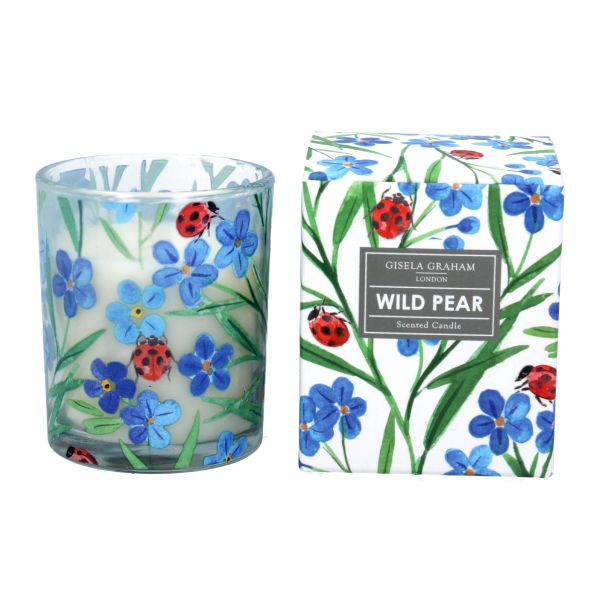 Boxed Candle Sml - Wild Pear with Forget Me Not and Ladybird Design
