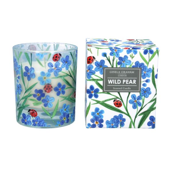 Boxed Candle Large - Wild Pear with Forget Me Not with Ladybird design