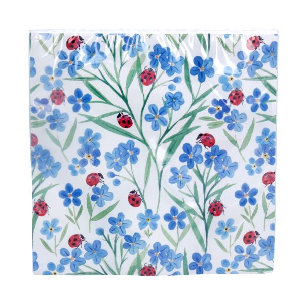 Pack/20 Paper Napkins - Forget Me Not/Ladybird