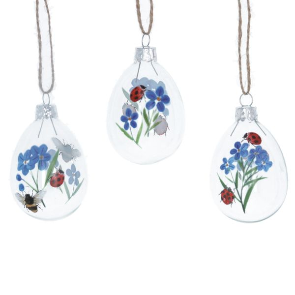 Set of 3 Forget-me-not and Ladybird glass decorations
