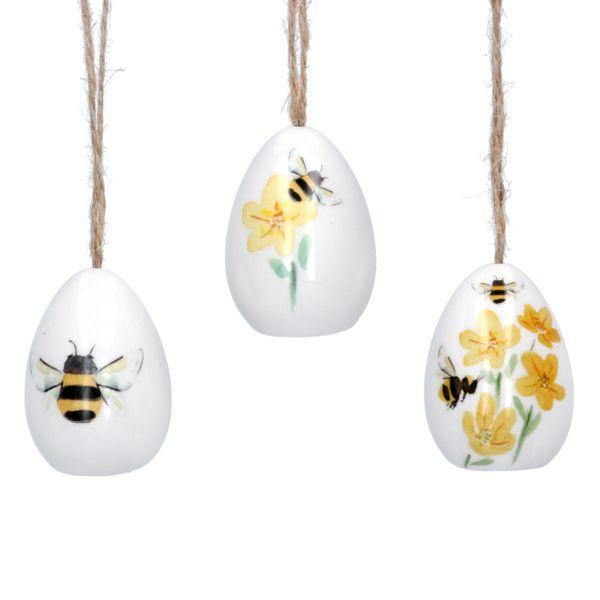 Set of three Bee hanging Eggs