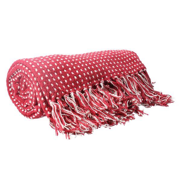 Raspberry Woven Stab Stitch Cotton Throw 150cm
