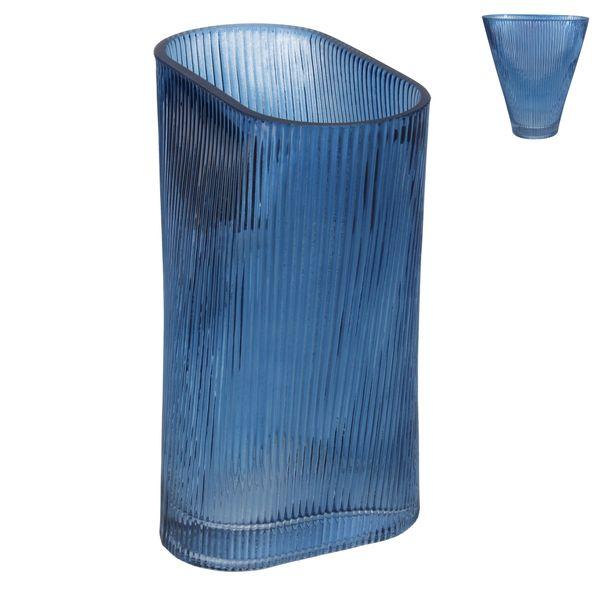 Glass Vase 20cm - Blue Ribbed Fan