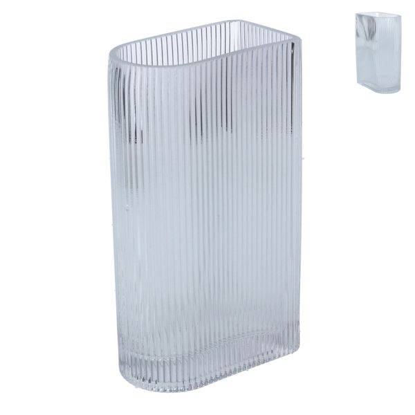 Glass Vase 20cm - Clear Ribbed D-Shape