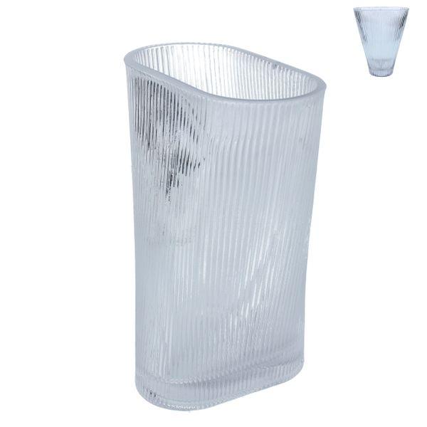 Glass Vase 20cm - Clear Ribbed Fan