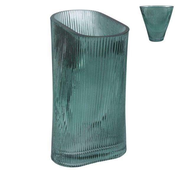 Glass Vase 20cm - Green Ribbed Fan