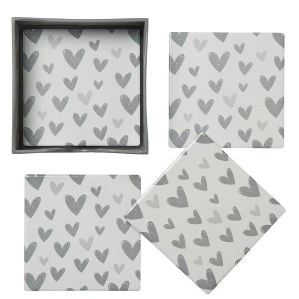 Viola Grey Heart Coasters