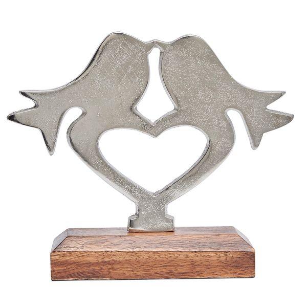 Silver metal lovebirds on wooden base