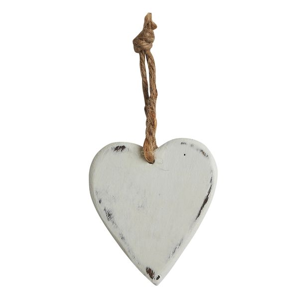 White wooden heart decoration