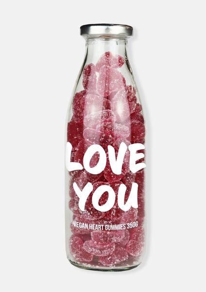 'LOVE YOU' VEGAN HEARTS GUMMY MESSAGE BOTTLE – 400G
