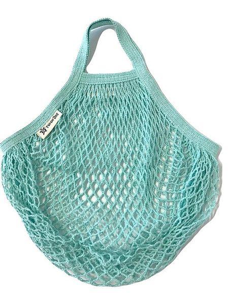 Organic Short Handled String Bag - Duck Egg Blue