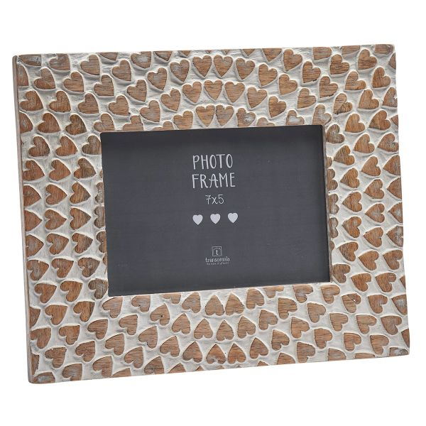 Carved wooden hearts 7x5 frame
