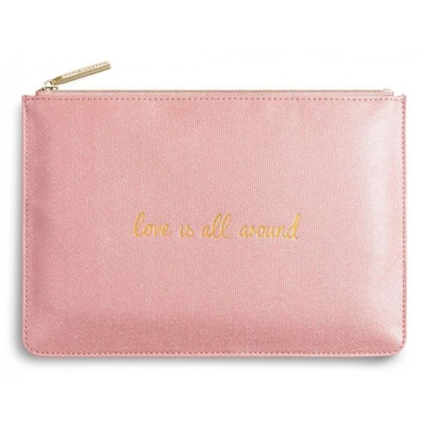 PERFECT POUCH   Love is All Around   METALLIC PINK