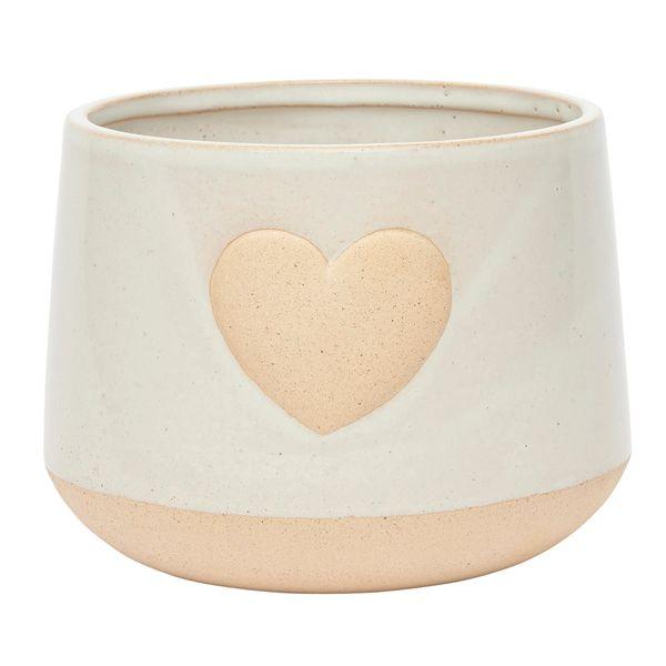 Cream Heart Stoneware Planter
