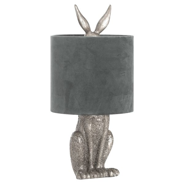 Silver Hare Table Lamp With Grey Velvet Shade - CLICK & COLLECT ONLY
