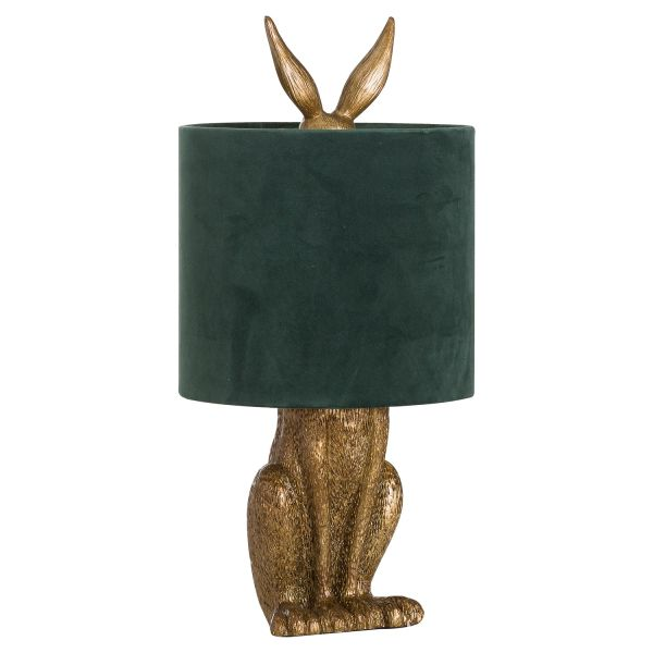 Antique Gold Hare Table Lamp With Green Velvet Shade - CLICK & COLLECT ONLY