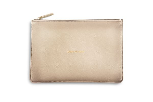 GOOD AS GOLD PERFECT POUCH METALLIC GOLD by Katie Loxton