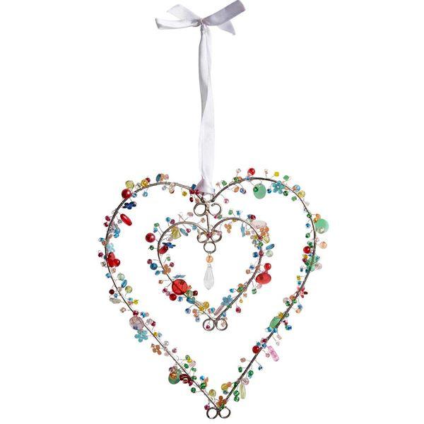 Bright double beaded heart decoration 20cm