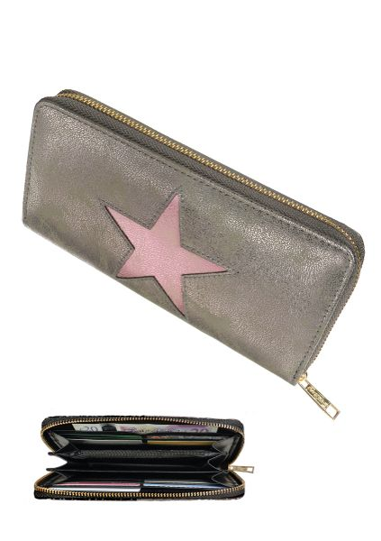 Compartment Purse STAR - Pewter & Pink