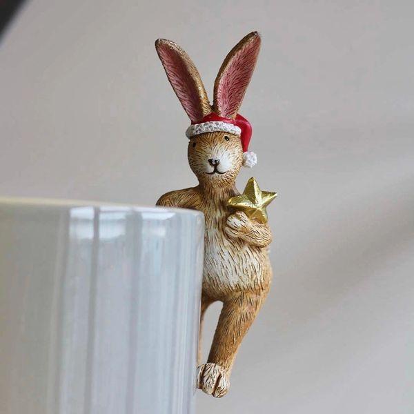 Pot Hanging Christmas Hare 14cm