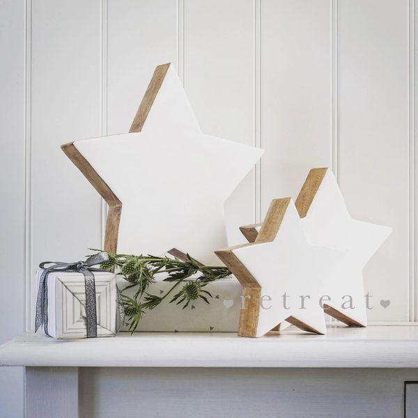 Enamel Wood Mantle Stars Set of 3