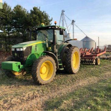 John deere tractor, harvest, planting, crops, implement, wheels, tires, plants, green, yellow
