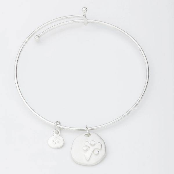 YANA Bracelet w/ Raised YANA Symbol Brushed Charm