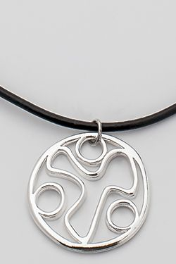 Leather Necklace w/ YANA Symbol Within Circle Pendant