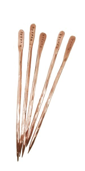 Individual set of five copper olive spears