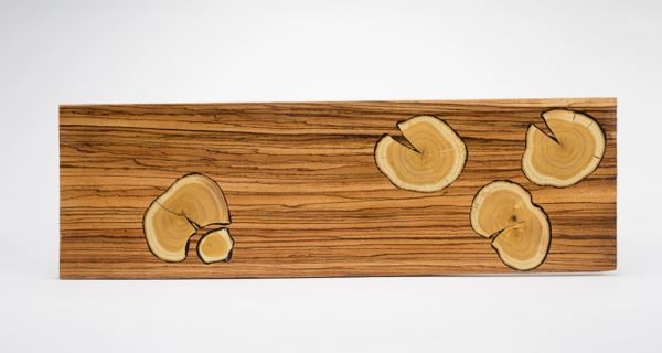 Zebrawood Charcuterie Board with Mulberry Lily Pad Growth Rings