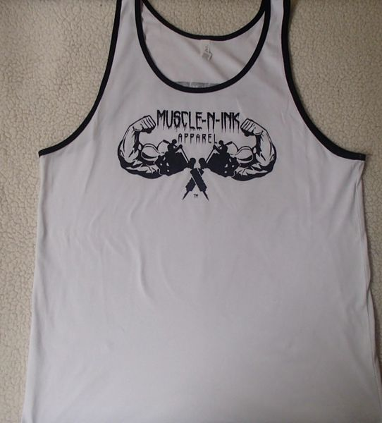 Mens White Tank with Black Trim (front only)