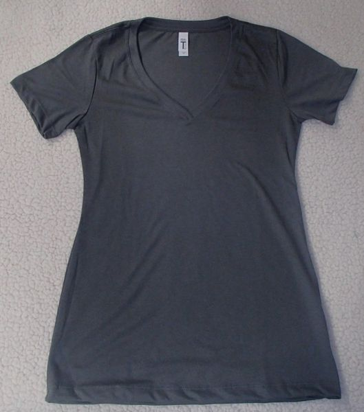 Womens Dark Grey V-Neck (front only)