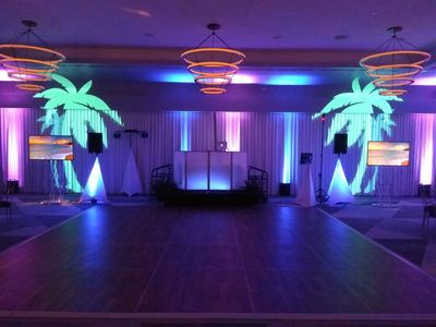 Highlight the elegance of your venue with vibrant uplighting. We're equipped to provide uplighting