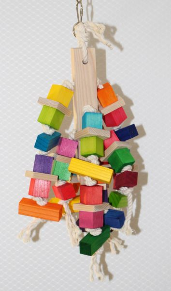 """#81 8"""" Wood Block with Hanging Cubes and Rectangles"""