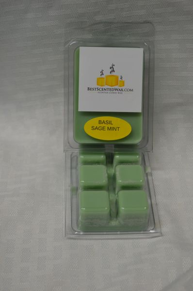 Basil Sage Mint Triple Scented Wax Melts (6 Cubes Per Shell)