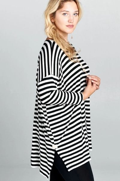 c2d61590bcf Plus Size Off White and Black Striped Tunic Top | Lacy Lu  Boutique:Trendy,fashion,Womens,girls,shoes,handbags,hot!