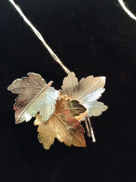 Silver & Gold Tone Leaf Trio Brooch