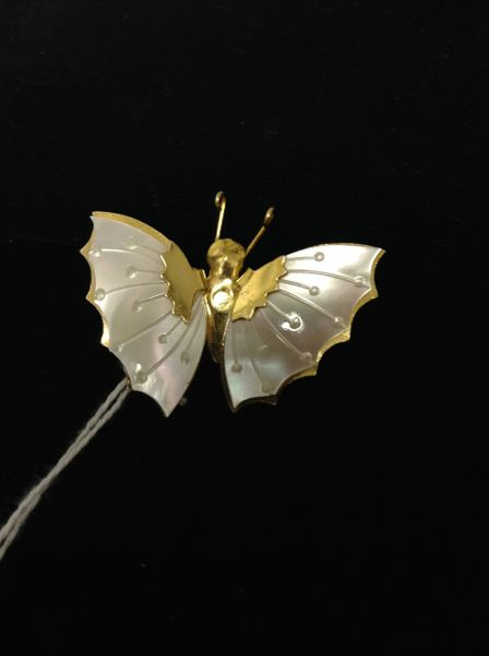 Faux Mother of Pearl Butterfly Brooch w/ antenna